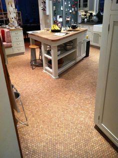 "VersaCork is cork penny ""tile"" made from recycled wine bottle corks … Granite Flooring, Cork Flooring, Kitchen Flooring, Flooring Ideas, Recycled Wine Corks, Dark Wood Cabinets, Cork Tiles, Penny Tile, Wood Counter"