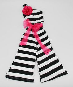 Loving this Black & White Stripe Rosette Jumpsuit - Toddler & Girls on #zulily! #zulilyfinds {pinned by http://eco-babyz.com}