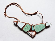 Statement green mint ceramic necklace  Upcycled by littlecormorant, €25.00