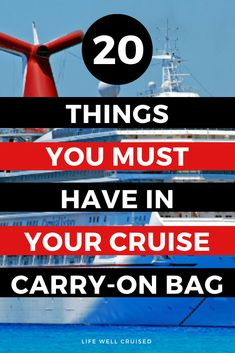 The ultimate list of everything you need to pack in your cruise carry on luggage. Make sure you've got yourself organized for the first day of your cruise. Best Cruise, Cruise Port, Cruise Travel, Cruise Vacation, Disney Cruise, Hawaii Vacation, Vacations, Cruise Excursions, Cruise Destinations