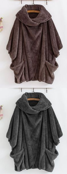 Casual Women Turtleneck Big Pockets Cloak Coats OFF! Casual Women Turtleneck Big [& The post OFF! Casual Women Turtleneck Big Pockets Cloak Coats appeared first on How To Be Trendy. Stylish Outfits, Fall Outfits, Cute Outfits, Fashion Outfits, Ladies Fashion, Dress Fashion, Looks Style, My Style, Hippy Chic