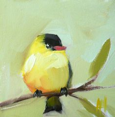 Goldfinch no. 29 original bird limited edition print of painting by moulton 8 x 8 inches prattcreekart