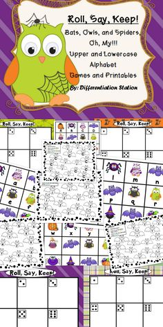 This is a fall, bats, spiders, and owls themed center, game and printables. You can use it for Halloween, or just for fun!This is a game that can be used in a center or small group setting. It is appropriate for advanced preschoolers, kindergarten, special education instruction, or for any student that needs extra practice in learning their upper and lowercase letters.