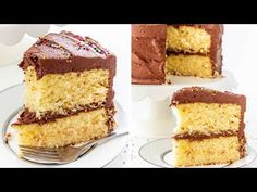 This classic yellow cake with fudge frosting is like taking a page out of your childhood. The cake is rich, tender and delicate, then it's topped with a ton of creamy fudge frosting. Yellow Cake Chocolate Frosting, Fudge Frosting, Chocolate Cake, Yellow Cake Mixes, Yellow Cakes, Cake Mix Recipes, Sweet Tooth, Baking Videos, Scream