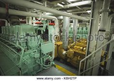 Interior of engine spaces in ship - Stock Photo