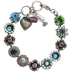 "Mariana Silver Plated Flower Garden Swarovski Crystal Bracelet, 7"" Pastel Multi 4072 88. Available at www.regencies.com"