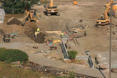 Heavy equipment at work at PNC Field.