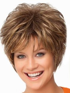 Charming Short Curly Full Bang Stylish Synthetic Blonde Highlight Fluffy Capless Wig For Women