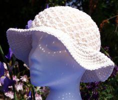 "Hand crochet cotton sun hat in ""Ecru"". Floppy sun hat with brim. Crochet hat. Cotton hat. Summer hat. Beach hat"