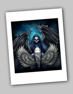 Death and Beauty Light and Dark Angels Gothic Art and Illustration, Dark Fantasy, Goth Horror Surrealism, by Sherrie Thai of shaireproductions.com