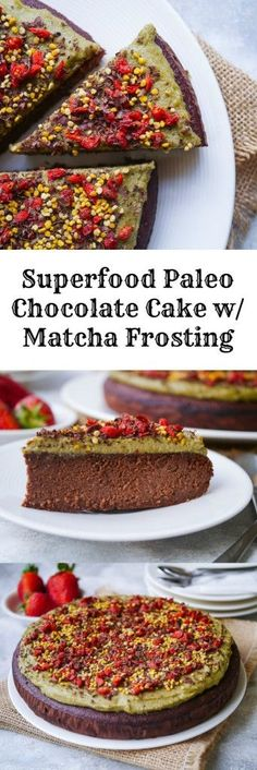 Superfood Paleo Chocolate Cake with Matcha Frosting recipe | nourisheveryday.com | this luscious grain-free cake is free from gluten, dairy and refined sugar yet still so incredibly delicious, with a rich, truly chocolatey flavor! Made with almond flour & coconut flour.