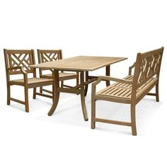Renaissance Rectangular Table - Bench- Arm ChairOutdoor Hand-scraped Hardwood Hardwood Dining Set