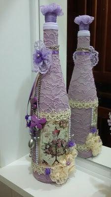 Atelie Beth Ribeiro: Garrafa decorada vintage I