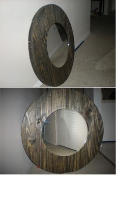 "Mirror I made from the end of a wire reel.  The reel is 31.5"" in diameter.  The mirror is 17.5"" in diameter.  (For sale too if anyone is interested...)"