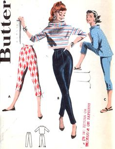 50s tapered pants stovepipe style pant capri pants and Boxy tops vintage sewing pattern Butterick 7057 midcentury style UNCUT Size 16