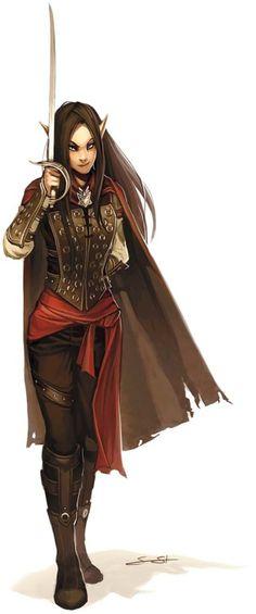 Femme elfe dueliste / roublarde