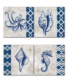 Look at this #zulilyfind! Blue Tahiti Panel - Set of Four #zulilyfinds