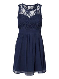 LACED SLEEVELESS SHORT DRESS, Black Iris