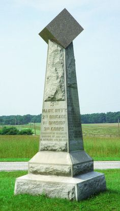 A monument to the Third Maine Infantry is south of Gettysburg in in the Peach Orchard (top right), and markers are on Hancock Avenue across from the Copse of Trees (