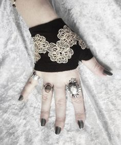 Arabesque Micro Fingerless Gloves  Black Champagne by ZenAndCoffee, $40.00