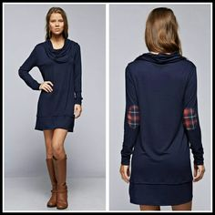 The Lexington Dress in Navy size S M L XL Beautiful Navy dress with plaid elbow patch Perfect with boots or leggings  Material is rayon and spandex  Size S M L XL   PLEASE INDICATE YOUR SIZE  PRICE FIRM UNLESS BUNDLED Boutique  Dresses Long Sleeve