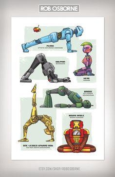 ROBOT YOGA Super Pop Art Print 11x17 by Rob Osborne. $20.00, via Etsy.