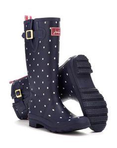 Joules Womens Print Rain Boot Wellies, Navy Spot.