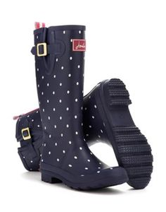 Joules Womens Print Welly, Navy Spot.