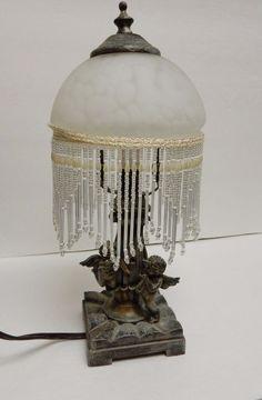 "Vintage CHERUB Table Lamp Beaded Shabby Chic Victorian Original Shade Elect 13"""
