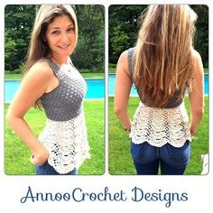 Ballerina Lace Top Adult size By AnnooCrochet Designs   (Pattern is for XS size )You will Need:Crochet hook : 3.25mmTapestry NeedleCascade yarn in Grey and Cream       Stitches usedch: chainsc: single