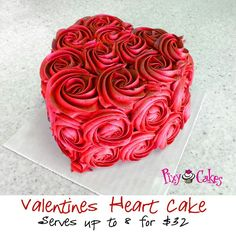 Could do a smaller version with cupcakes! Valentines Heart Cake - I just like the picture for it's idea. Cute on a heart shaped cake Valentine Desserts, Valentines Day Cakes, Valentine Treats, Valentine Heart, Pretty Cakes, Beautiful Cakes, Amazing Cakes, Heart Shaped Cakes, Heart Cakes