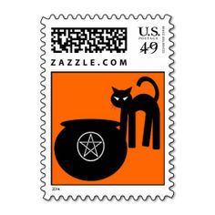 Black Cat and Cauldron Pagan Postage Stamps by www.cheekywitch.com #zazzle #witch #wicca #wiccan #pagan #postage #postagestamps #cat #cauldron #halloween #cheekywitch