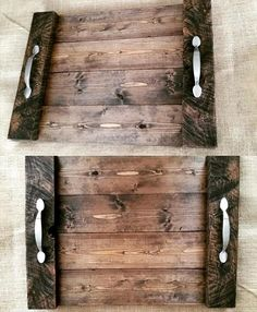 Rustic Pallet Wood Trays with Metal Handles - 130+ Inspired Wood Pallet Projects   101 Pallet Ideas - Part 2