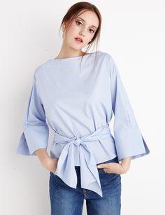 Blue Waist Tie Shirt - Pixie Market $109