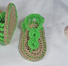 Green Crochet Baby Sandals  by TheBabyCrow,