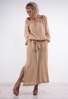 Crochet beige dress KNIT maxi lace Dress off shoulder beige dress Crochet…