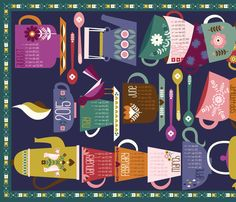 2015 Tea and Coffee Calendar - Dark fabric by oliveandruby on Spoonflower - custom fabric