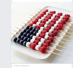 Patriotic Kebobs | 19 Easy July 4th Dessert Recipes for a Crowd