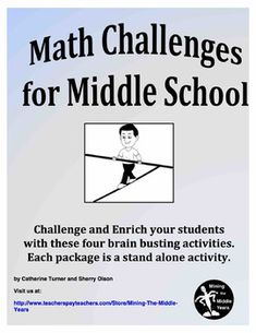 Math Challenges for Middle School - Math Enrichment - Distance Education Science Resources, School Resources, Math Activities, Teacher Resources, Teaching Tools, Teaching Ideas, Elementary Math, Upper Elementary, Math Enrichment