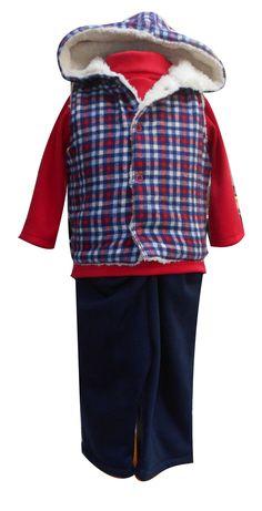 Chaleco de franela con borrega, playera manga larga cuello alto y pantalón de felpa. Tallas 3, 6, 12 y 18 meses.