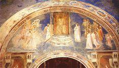 Giotto - Scrovegni -God Sends Gabriel to the Virgin - Annunciazione (Giotto) -Dio invia l'arcangelo Gabriele è un affresco con un inserto a tempera su tavola (230x690 cm) di Giotto, databile al 1303-1305 circa e facente parte del ciclo della Cappella degli Scrovegni a Padova. Decora la lunetta sopra l'altare ed è strettamente in relazione con gli episodi sottostanti che compongono l'Annunciazione