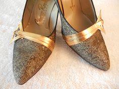 d5799f13cc06 1950 s Gold Shoes Vintage High Heel Shoes Gold Pumps https   www.etsy