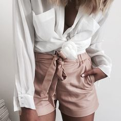 nude / beige / pink short & white shirt. sexy