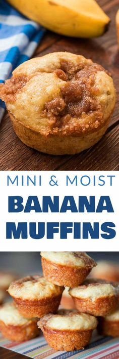 Find out why these banana muffins are the BEST and MOST POPULAR! These Mini and Moist Banana Muffins with crumb topping are the most delicious banana muffins you'll ever taste! Since they're mini, they're great for a healthy breakfast on the go! This rec Simple Muffin Recipe, Muffin Tin Recipes, Healthy Muffin Recipes, Healthy Muffins, Banana Recipes, Diabetic Muffins, Healthy Breads, Muffin Tins, Pastries