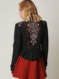 Looking for a jacket for Fall and Winter.. this just might be the one. I really like the embroidery on the back. I could use this in my closet