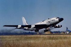 """The RC-135S """"Rivet Ball"""" takes off. Notice the large windows on the upper right part of the forward fuselage, where the camera and sensor equipment was located to observe the Soviet missile launches."""