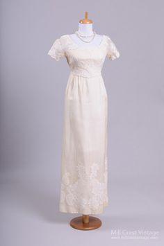 1960's Silk Organza Sheath Vintage Wedding Gown : Mill Crest Vintage