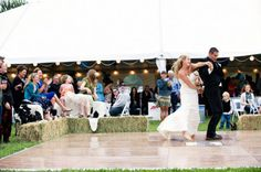 hay bales around dance floor-a neat idea to add! our seats for our ceremony are already going to be hay bales! :)