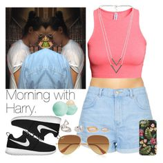 """""""Morning with Harry."""" by welove1 ❤ liked on Polyvore featuring Marie Meili, Topshop, H&M, NLY Accessories, NIKE, Ray-Ban, Forever 21, Eos, Ankit and women's clothing"""
