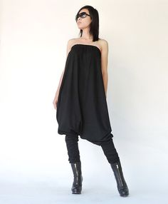 NO.125 Black Cotton Jersey Strapless Loose by JoozieCotton